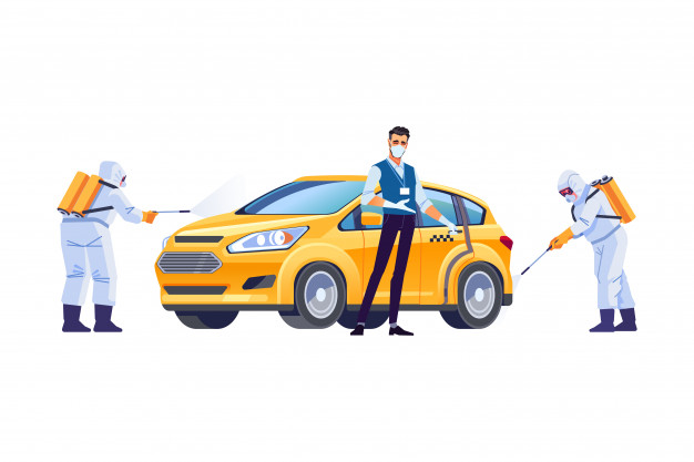 disinfected taxi